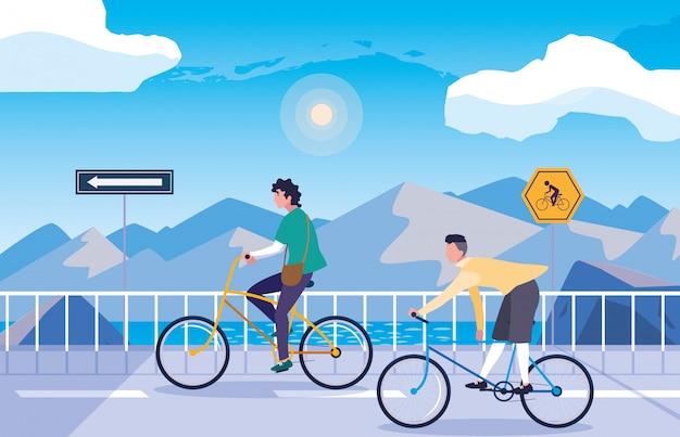 Mannen in snowscape natuur met bewegwijzering voor fietser Premium Vector