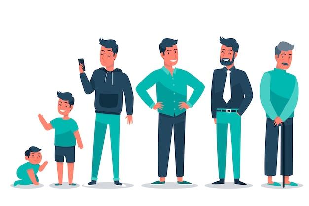 Mannen in verschillende leeftijden en groene kleding Gratis Vector
