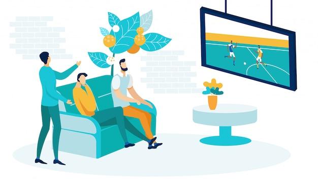 Mannen kijken naar voetbalwedstrijd op tv vlakke afbeelding Premium Vector