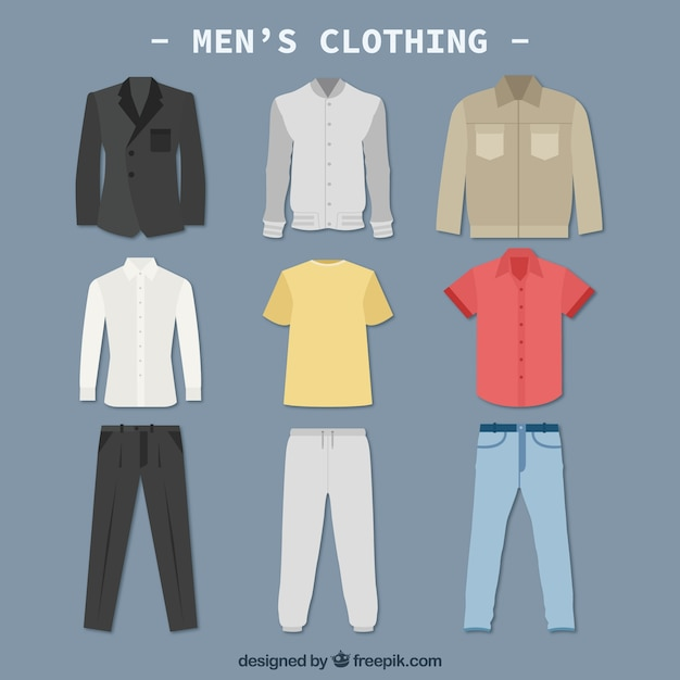 Mannen kleding colletction Premium Vector