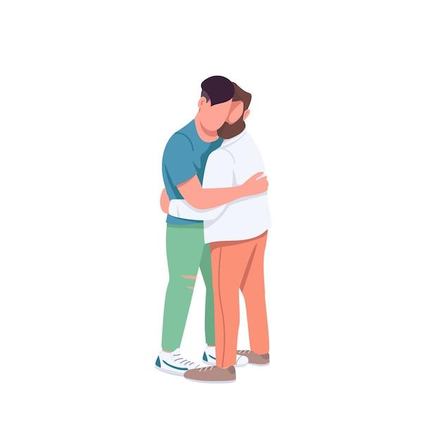 Mannen knuffelen gezichtsloze karakters in egale kleuren. homopaar in romantische relatie. man omhelst vriend. familierelatie geïsoleerde cartoon afbeelding voor web grafisch ontwerp en animatie Premium Vector