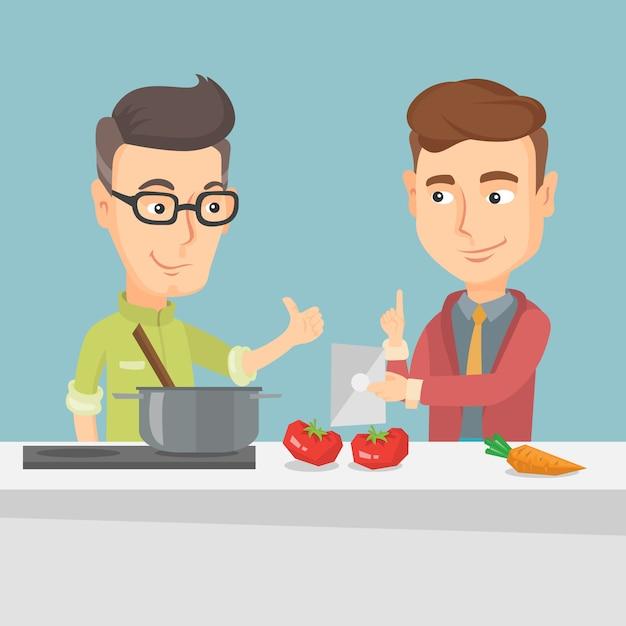 Mannen koken gezonde plantaardige maaltijd. Premium Vector