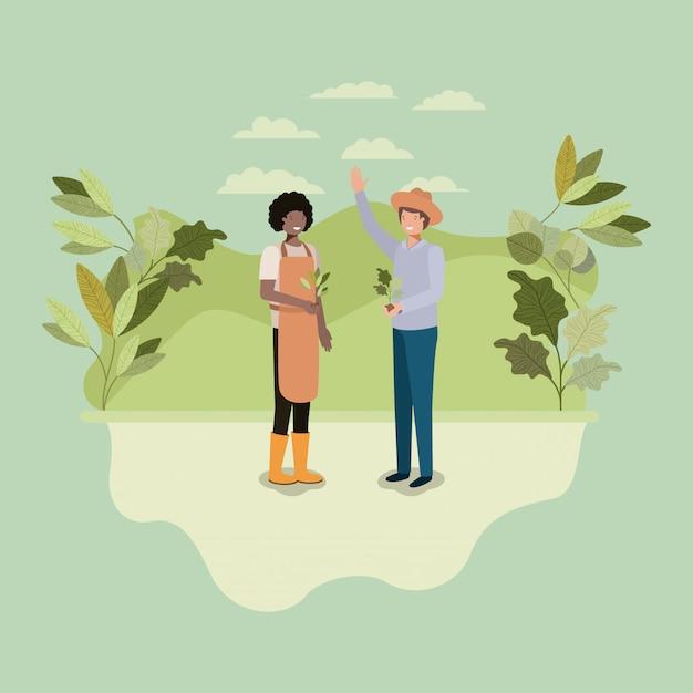 Mannen koppelen aanplant boom in het park Premium Vector