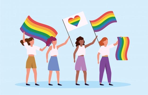 Mannen met regenboog en hartvlag naar lgbt parade Premium Vector