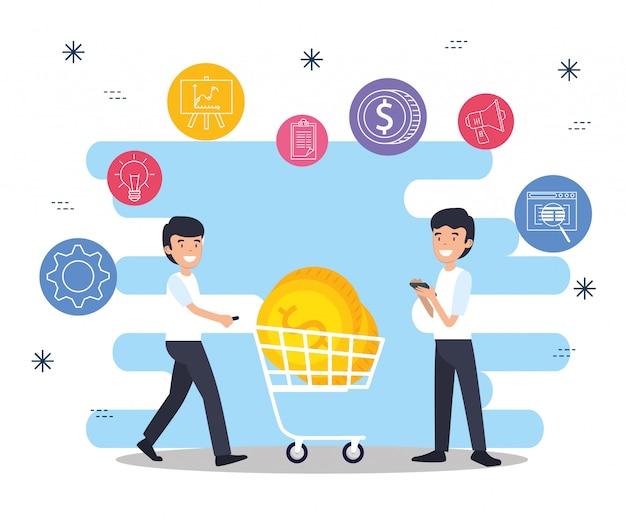 Mannen met winkelen auto en zakelijke munten Gratis Vector