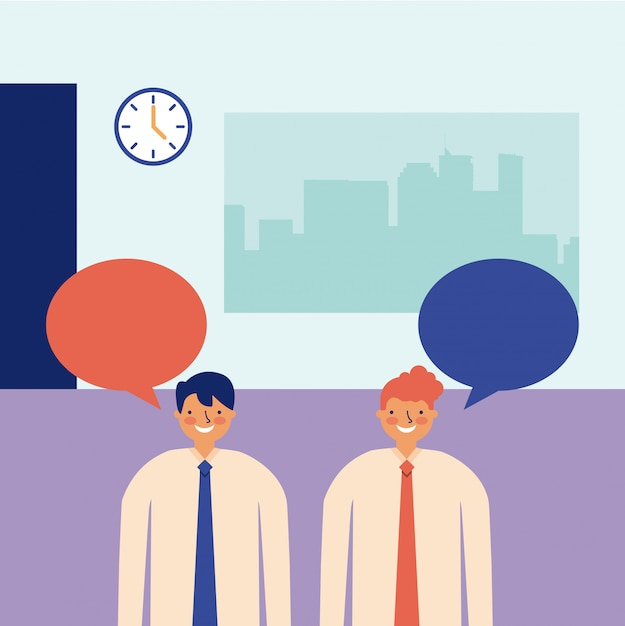 Mannen praten kantoor dagelijkse activiteit Gratis Vector