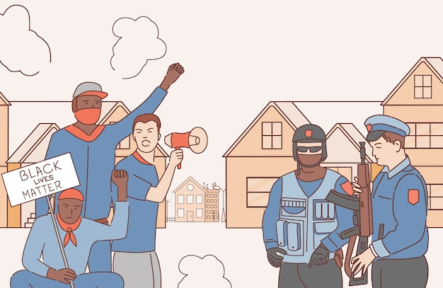 Mannen protesteren tegen racisme en rassendiscriminatie cartoon schets illustratie. politieagenten en demonstranten. zwarte levens zijn belangrijk, gelijke rechten voor iedereen. Premium Vector
