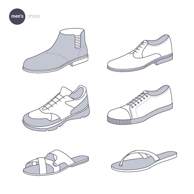 Mannen schoenen. kleding dunne lijnstijl. Premium Vector