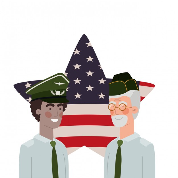 Mannen soldaten van oorlog met vlag van verenigde staten achtergrond Premium Vector