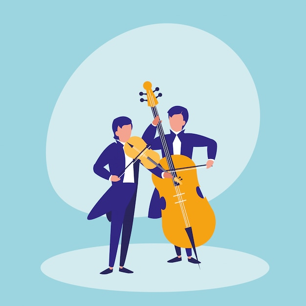 Mannen spelen cello avatar karakter Premium Vector