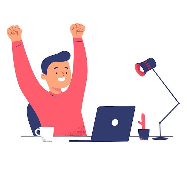 Mannen succes laptop verlichten werk van thuiscomputer geweldig Gratis Vector