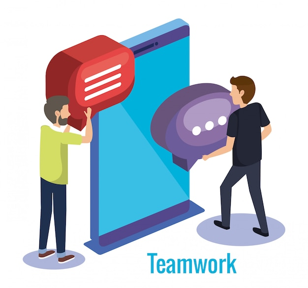 Mannen teamwork met smartphone Gratis Vector