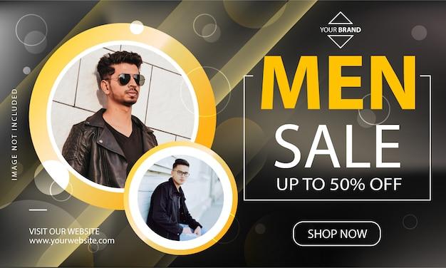 Mannen verkoop promotie sjabloon voor spandoek Premium Vector