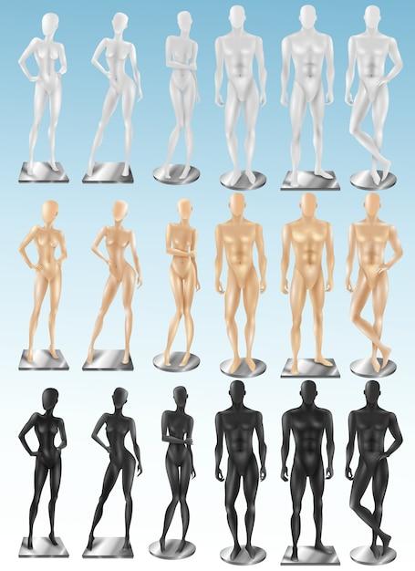 Mannequins 3 kleuren realistische sets Gratis Vector