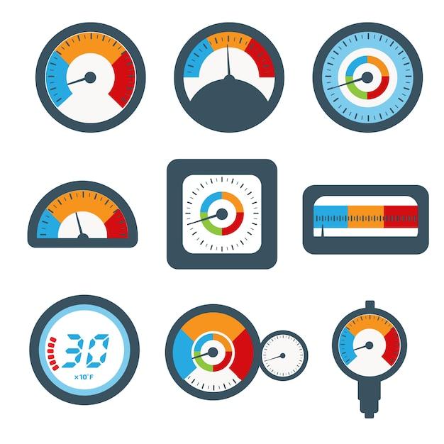 Manometer set, druk en temperatuur meter set pictogrammen. Premium Vector