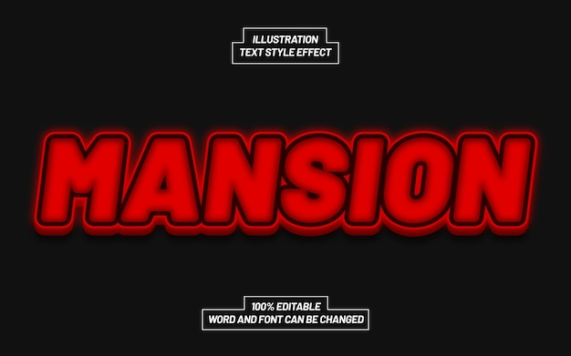 Mansion bold text style effect Premium Vector