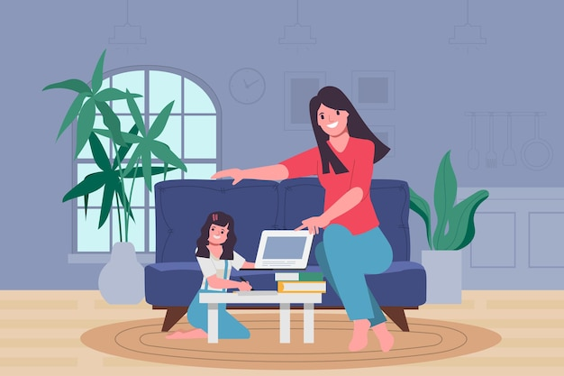 Mantelzorgers zorgen ervoor dat kinderen thuis leren. Premium Vector