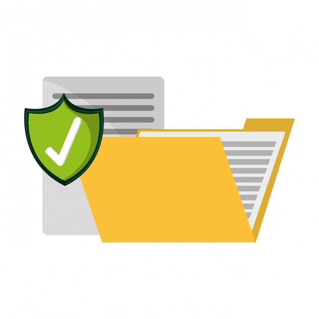 Map met documenten beschermd Premium Vector