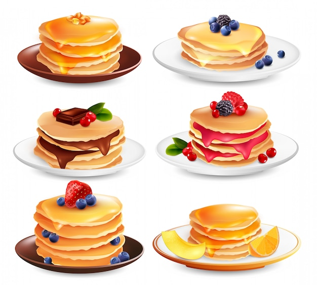 Maple pancakes geïsoleerde set Gratis Vector