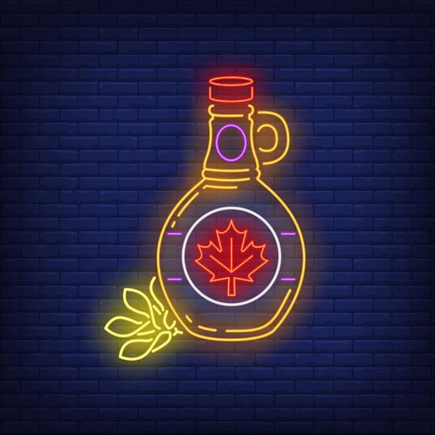 Maple siroop fles met blad neon teken Gratis Vector