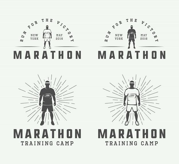 Marathon of logo-set uitvoeren Premium Vector