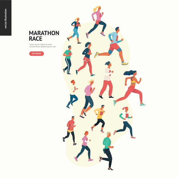 Marathon race groep Premium Vector