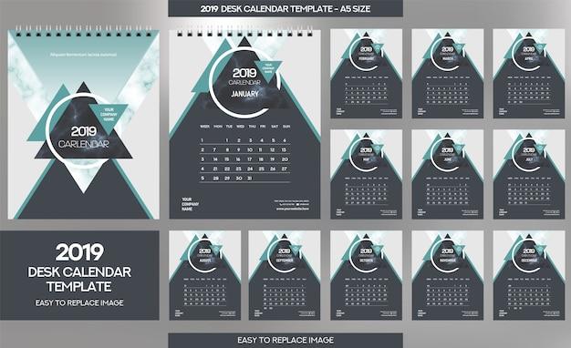 Marble desk calendar 2019 sjabloon Premium Vector