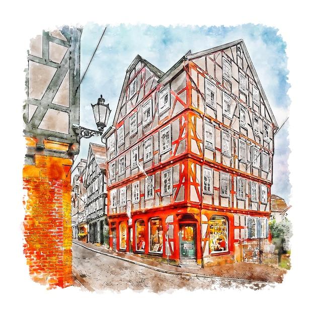 Marburg duitsland aquarel schets hand getrokken illustratie Premium Vector