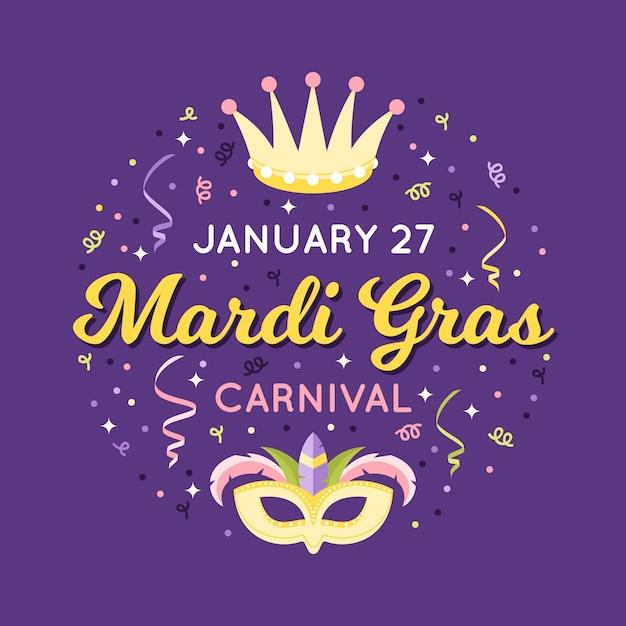 Mardi gras 27 januari confetti en masker Gratis Vector
