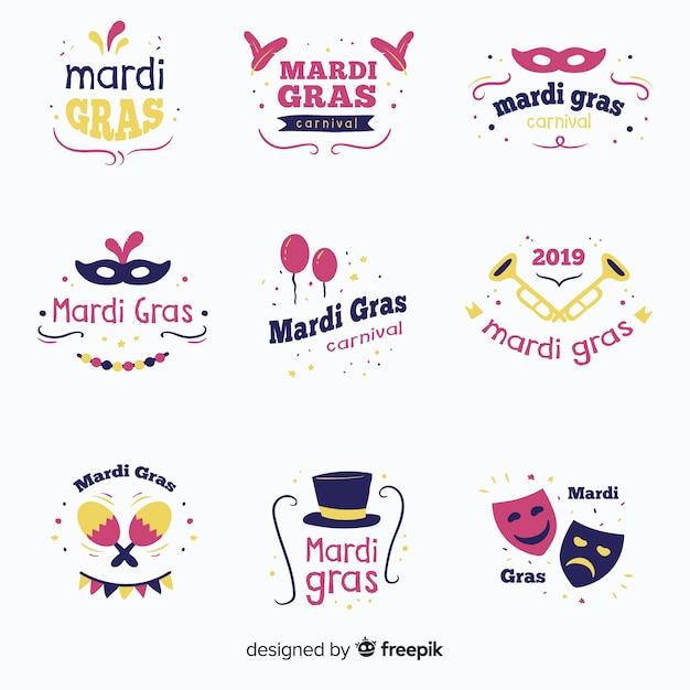 Mardi gras-badgecollectie Gratis Vector