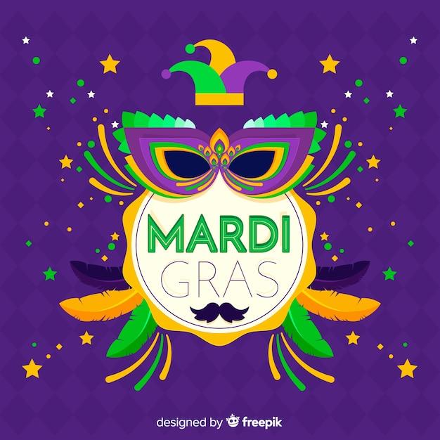 Mardi gras carnaval achtergrond Gratis Vector