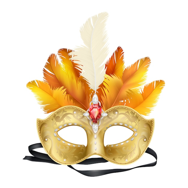 Mardi gras carnaval gezichtsmasker realistisch Gratis Vector