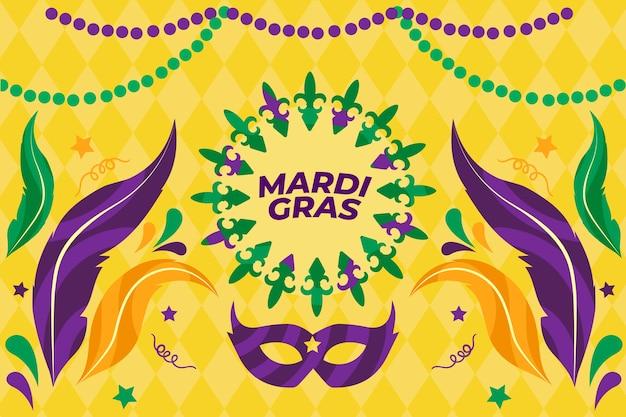 Mardi gras-evenement met maskers en veren Gratis Vector