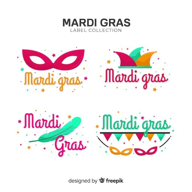 Mardi gras labelverzameling Gratis Vector