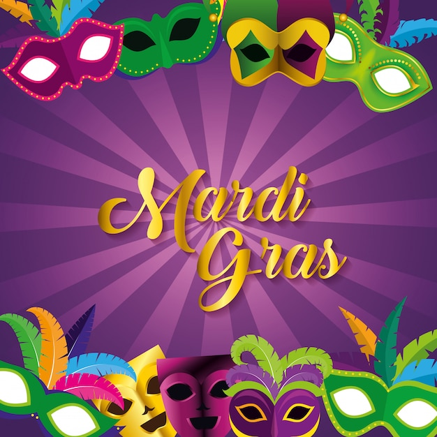 Mardi grasviering met maskers voor festivalfeesten Gratis Vector