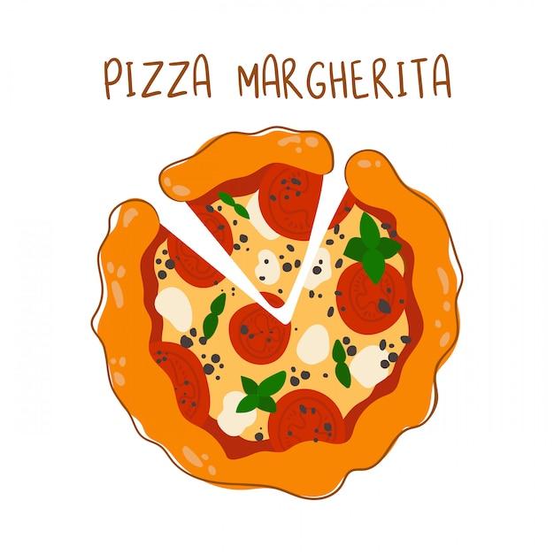 Margherita pizza met tomaten en mozzarella kaas op wit Premium Vector