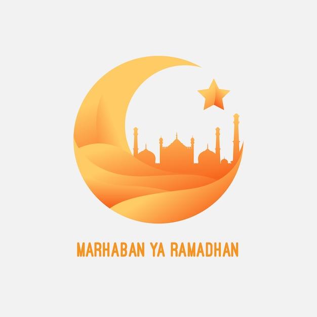Marhaban ya ramadhan Premium Vector