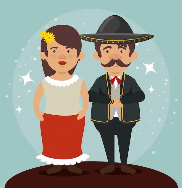 Mariachi man en vrouw om de dag van de doden te vieren Gratis Vector