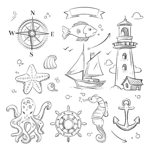 Mariene doodle set Premium Vector