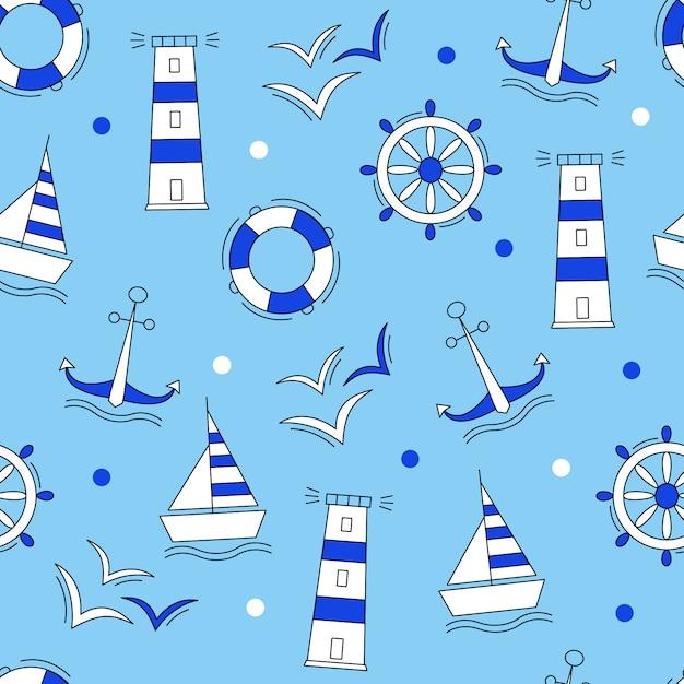 Mariene elementen blauw patroon Premium Vector