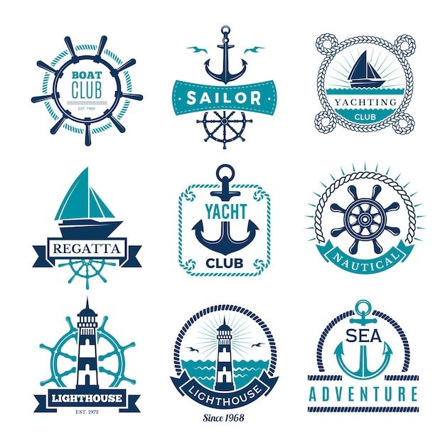 Mariene labels. nautisch logo zeilboten touw en mariene knoop ingelijste badges Premium Vector