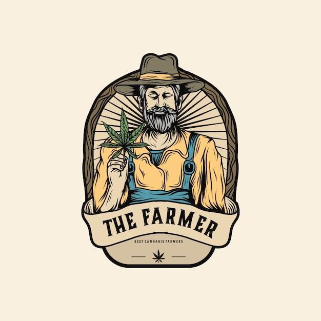 Marihuana landbouwer logo Premium Vector