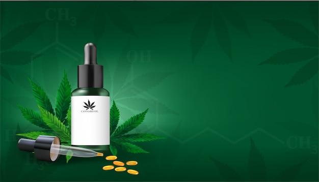 Marihuana of cannabis leaf achtergrond. hennepolie en cannabisblad op groene achtergrond. gezonde cannabisolie, vectorillustratie. Premium Vector