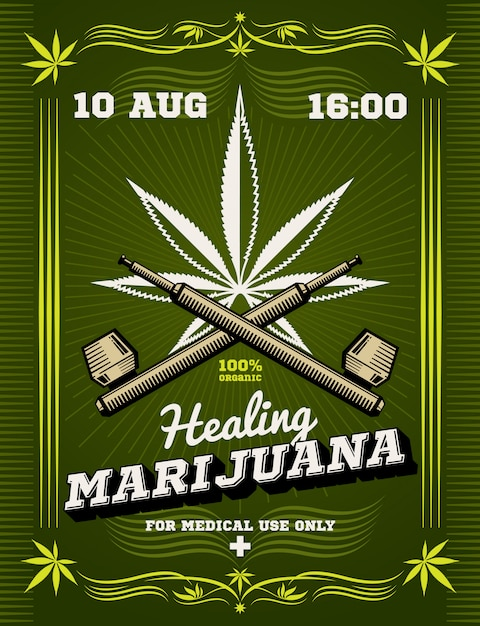Marihuana roker onkruid drug waarschuwing vector achtergrond Premium Vector