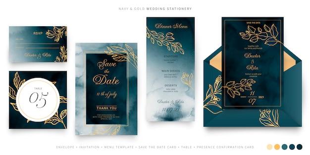 Marine en gouden bruiloft briefpapier sjabloon Gratis Vector