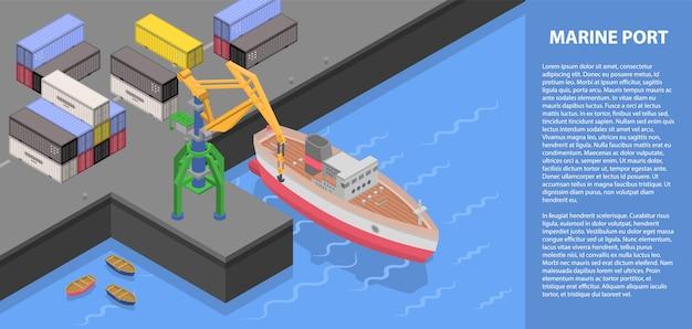 Marine haven concept banner, isometrische stijl Premium Vector