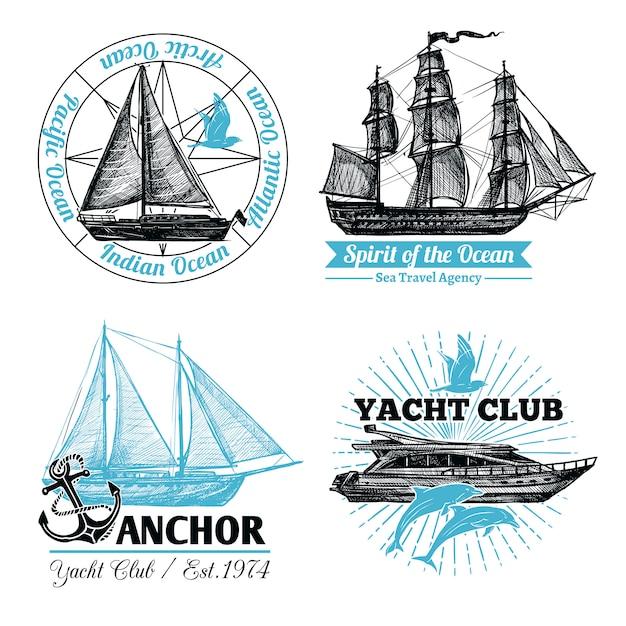 Marine labels set Gratis Vector