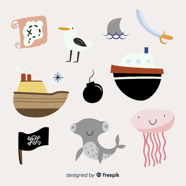 Marine life karakter collectio Gratis Vector