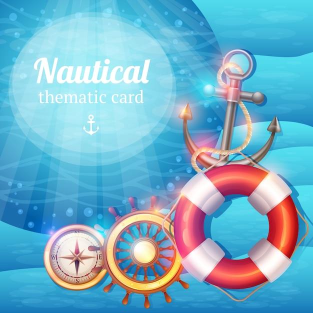 Marine symbolen achtergrond Gratis Vector