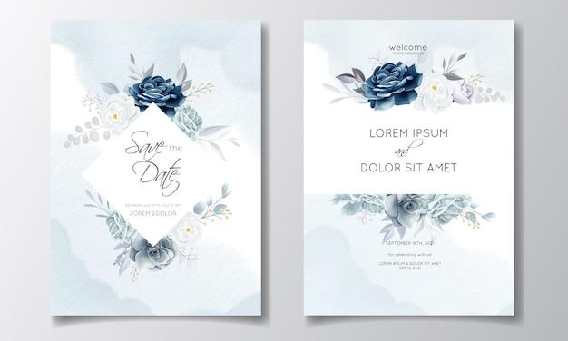 Marineblauw bloemen bruiloft uitnodiging kaartsjabloon met gouden bladeren en aquarel Premium Vector